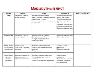 Маршрутный лист ГруппаЗанятияПраваОбязанностиРоль в государстве БояреЗем