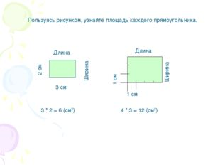 Пользуясь рисунком, узнайте площадь каждого прямоугольника. 3 см Длина Ширина