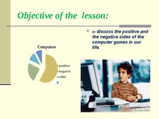 Objective of the lesson: to discuss the positive and the negative sides of th