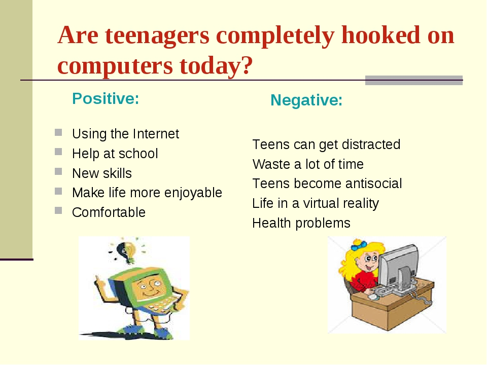 Are teenagers completely hooked on соmputers today? Positive: Using the...