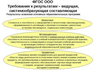 ФГОС ООО Требования к результатам – ведущая, системообразующая составляющая Р
