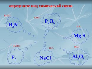 определите вид химической связи К.П.С. К.П.С. И.С. И.С. К.Н.С. И.С. H3N P2O5