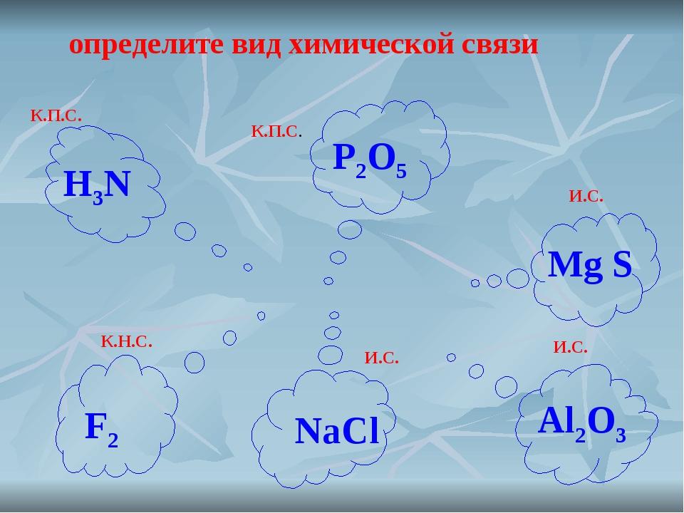 определите вид химической связи К.П.С. К.П.С. И.С. И.С. К.Н.С. И.С. H3N P2O5...