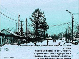 У топкинского поэта Владимира Дони есть такие строки: Суров мой край, но есть