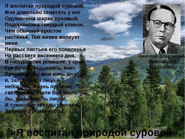 Николай Алексеевич Заболоцкий (1903-1958) «Я воспитан природой суровой». Я во...