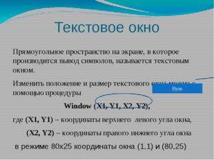 Текстовое окно Прямоугольное пространство на экране, в которое производится в