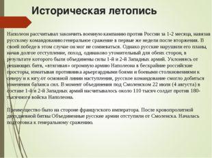Наполеон рассчитывал закончить военную кампанию против России за 1-2 месяца,