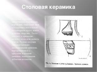 Cтоловая керамика Столовая керамика представлена кувшинами, корчагами, пифоса