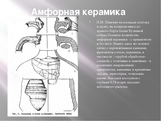 Амфорная керамика П.М. Пиневич на площади посёлка и далее, на площади мыса до...