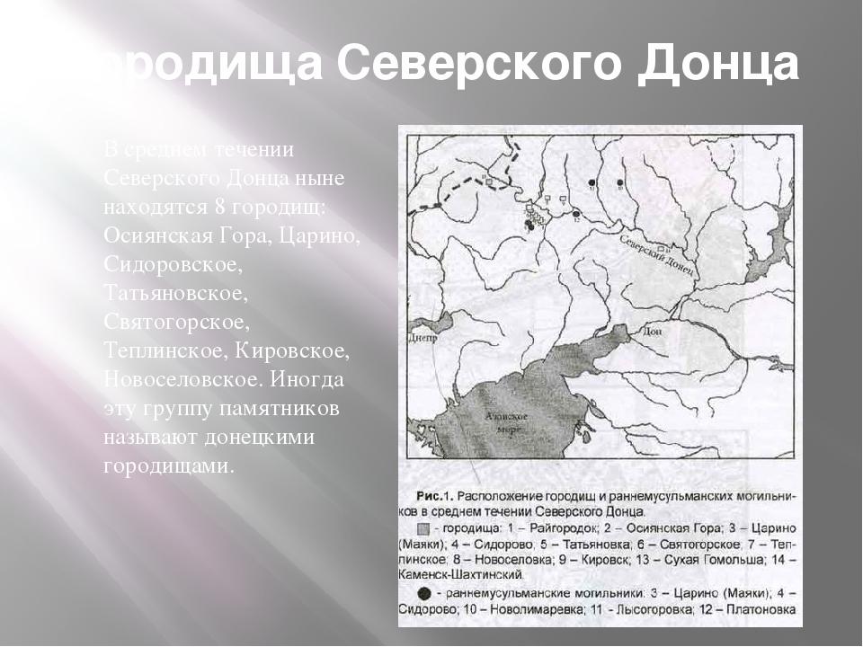 Городища Северского Донца В среднем течении Северского Донца ныне находятся 8...