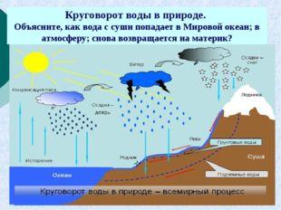 Круговорот воды в природе. Объясните, как вода с суши попадает в Мировой океа