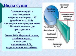 Воды суши Проанализируйте соотношение воды на суше рис. 137 (учебник стр. 114