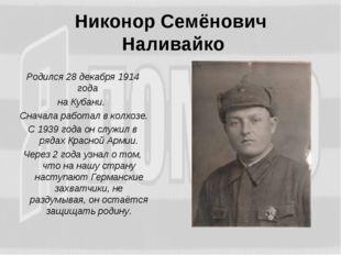 Никонор Семёнович Наливайко Родился 28 декабря 1914 года на Кубани. Сначала р