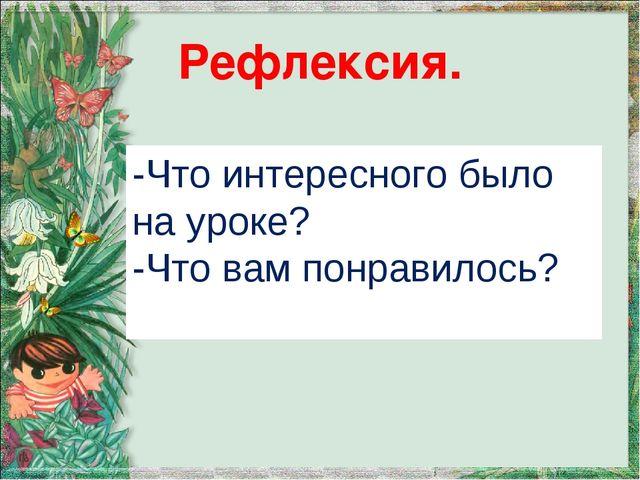 Рефлексия. -Что интересного было на уроке? -Что вам понравилось?