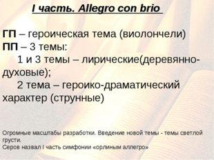 I часть. Allegro con brio ГП – героическая тема (виолончели) ПП – 3 темы: 1