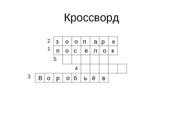 Кроссворд о з о о п е с п к р а о л к ь о В р в б ё о 2 1 5 4 3