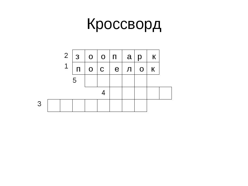 Кроссворд о з о о п е с п к р а о л к 2 1 5 4 3