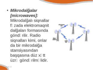 Mikrodalğalar [microwaves]: Mikrodalğalı siqnallar fəzada elektromaqnit dalğa