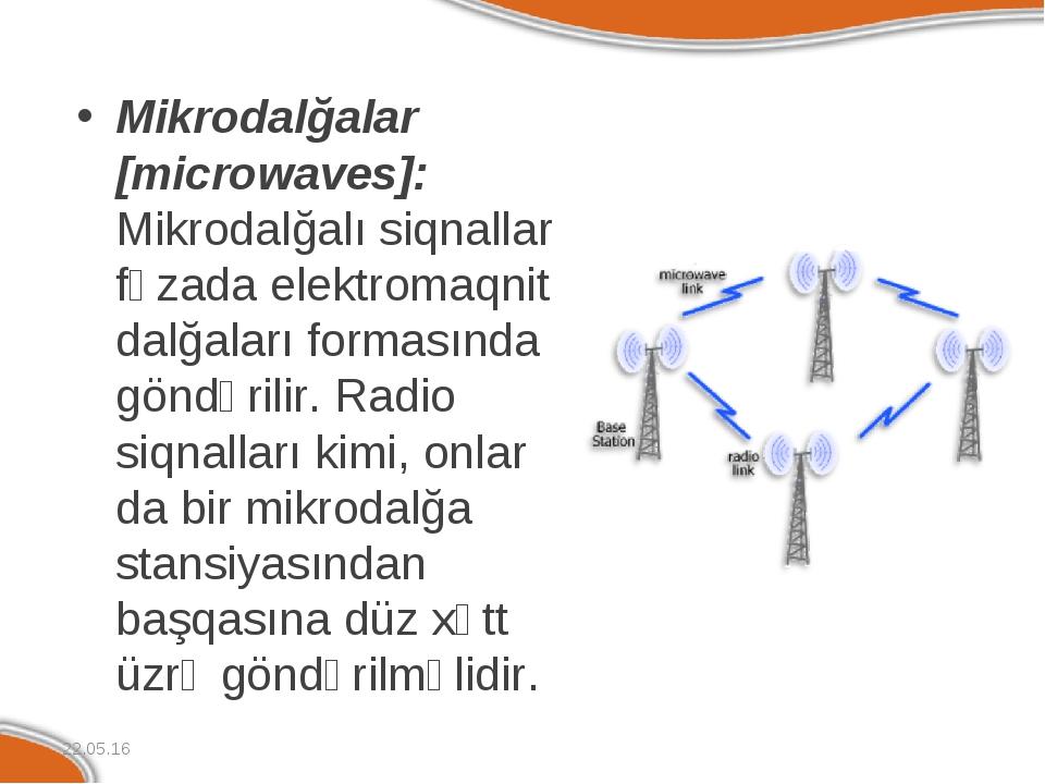 Mikrodalğalar [microwaves]: Mikrodalğalı siqnallar fəzada elektromaqnit dalğa...