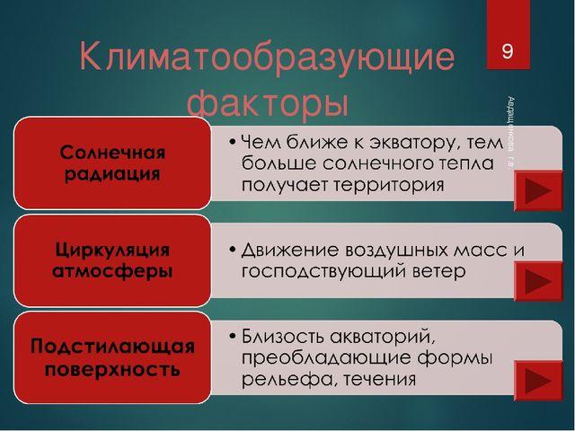 Климатообразующие факторы Авдащенкова г.в. * Авдащенкова г.в.
