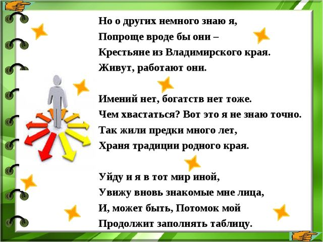 Но о других немного знаю я, Попроще вроде бы они – Крестьяне из Владимирского...