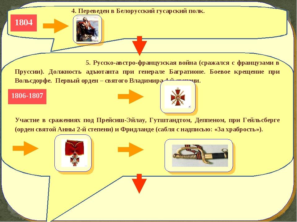 4. Переведен в Белорусский гусарский полк.  1804 5. Русско-австро-французс...