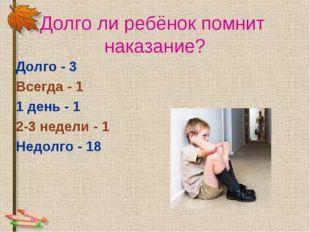 Долго ли ребёнок помнит наказание? Долго - 3 Всегда - 1 1 день - 1 2-3 недел