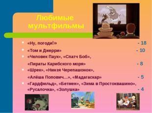 Любимые мультфильмы «Ну, погоди!» - 18 «Том и Джерри» - 10 «Человек Паук», «С