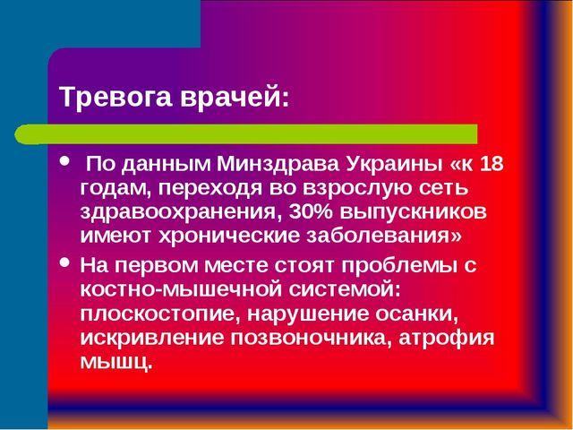 Тревога врачей: По данным Минздрава Украины «к 18 годам, переходя во взрослую...