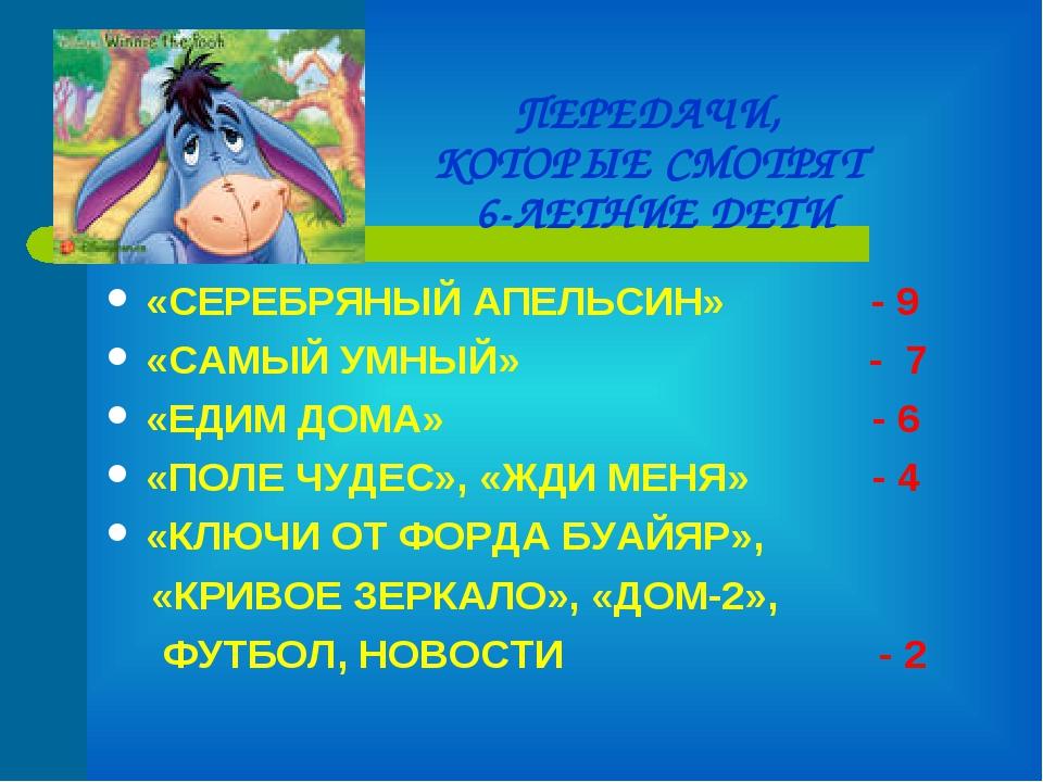 ПЕРЕДАЧИ, КОТОРЫЕ СМОТРЯТ 6-ЛЕТНИЕ ДЕТИ «СЕРЕБРЯНЫЙ АПЕЛЬСИН» - 9 «САМЫЙ УМНЫ...