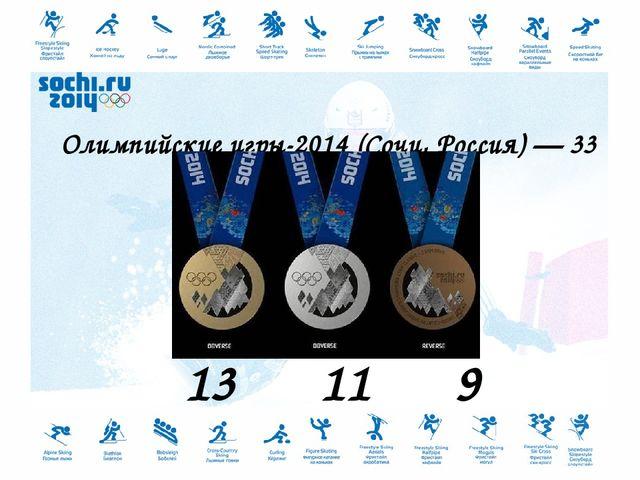 Олимпийские игры-2014 (Сочи, Россия) — 33 медали. 13 11 9