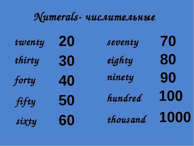 Numerals- числительные twenty thirty forty fifty sixty seventy eighty ninety...