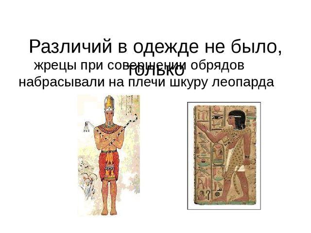 Различий в одежде не было, только жрецы при совершении обрядов набрасывали н...
