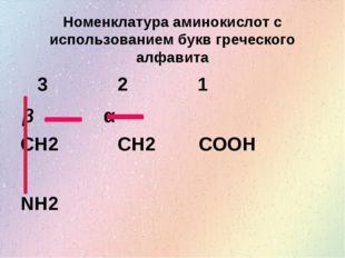 Номенклатура аминокислот с использованием букв греческого алфавита CH2 CH2 CO
