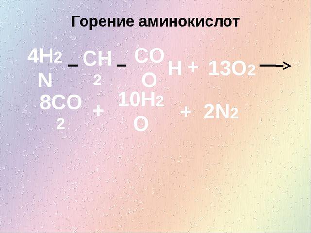 Горение аминокислот 4H2N CH2 COO H + 13O2 8CO2 10H2O 2N2 + +