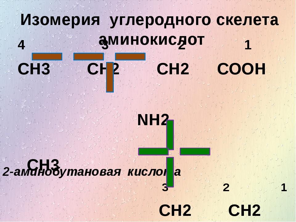 Изомерия углеродного скелета аминокислот 4 3 2 1 CH3 CH2 CH2 COOH NH2 CH3 3 2...