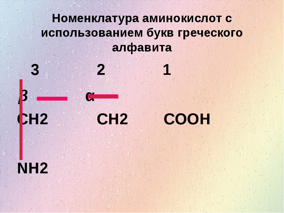 Номенклатура аминокислот с использованием букв греческого алфавита CH2 CH2 CO...