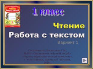 Вариант 1 Составитель: Васильева Г.Н., МАОУ «Экспериментальный лицей» «Научно