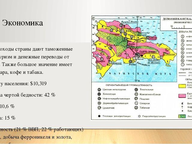 Экономика Основные доходы страны дают таможенные пошлины, туризм и денежные п...
