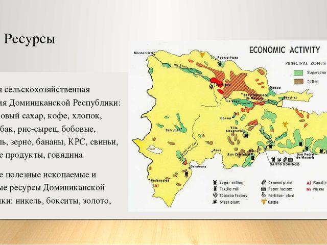Ресурсы Основная сельскохозяйственная продукция Доминиканской Республики: тро...
