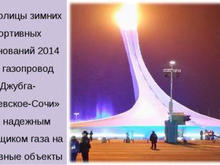 Для столицы зимних спортивных соревнований 2014 года газопровод «Джубга-Лазар