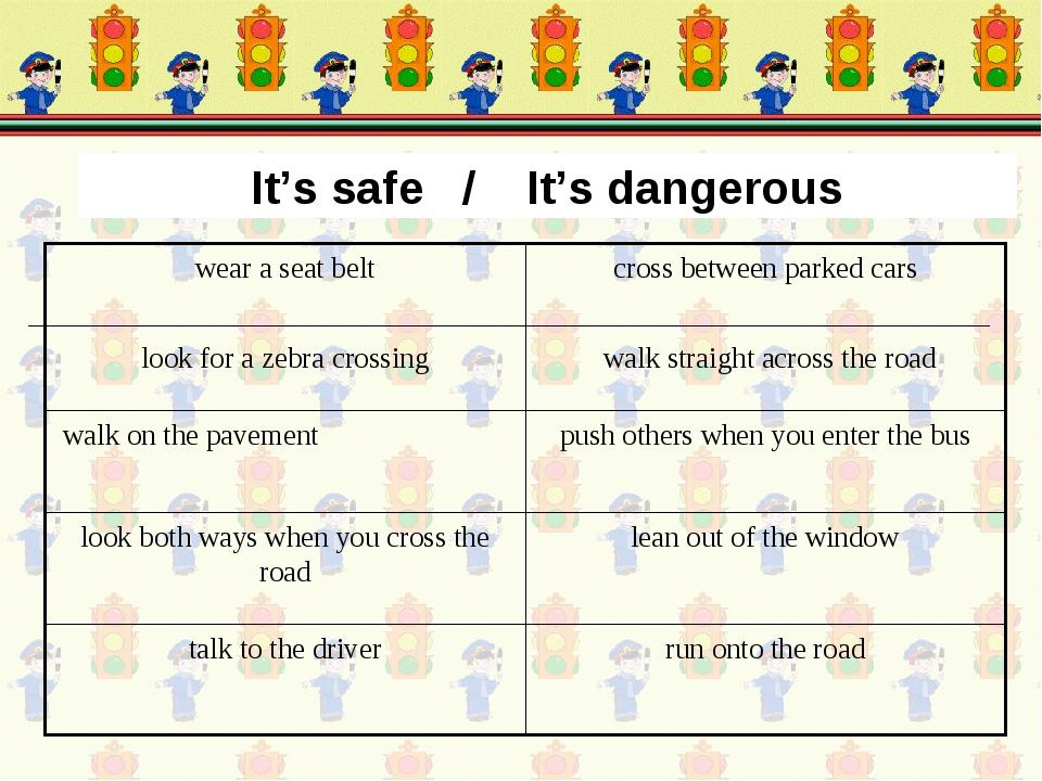 It's safe / It's dangerous