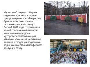 Мусор необходимо собирать отдельно, для чего в городе предусмотрены контейнер