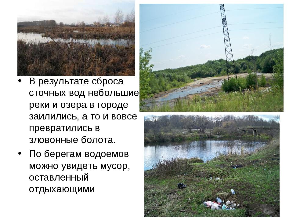 В результате сброса сточных вод небольшие реки и озера в городе заилились, а...