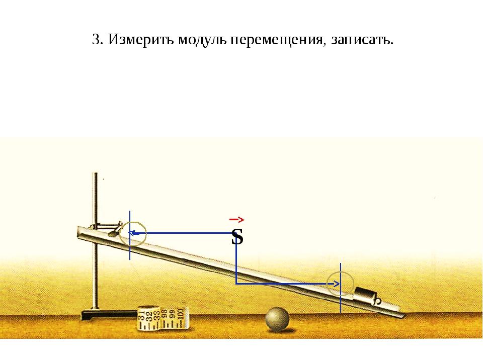 3. Измерить модуль перемещения, записать. S