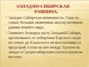 ЗАПАДНО-СИБИРСКАЯ РАВНИНА. Западно-Сибирская низменность. Одна из самых больш
