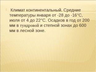 Климат континентальный. Средние температуры января от -28 до -16°С, июля от