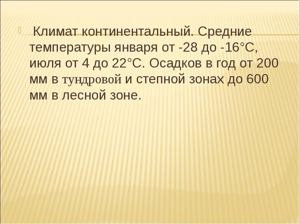 Климат континентальный. Средние температуры января от -28 до -16°С, июля от...