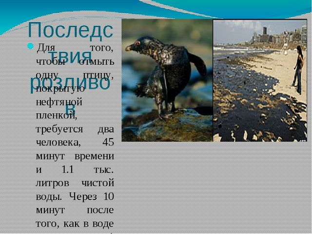 Последствия розливов Для того, чтобы отмыть одну птицу, покрытую нефтяной пле...