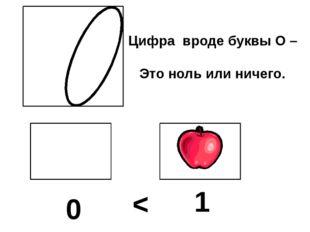 Цифра вроде буквы О – Это ноль или ничего. 0 1 <